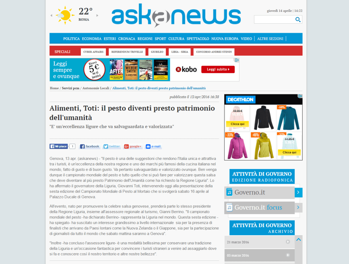 AskaNews 13 aprile 2016