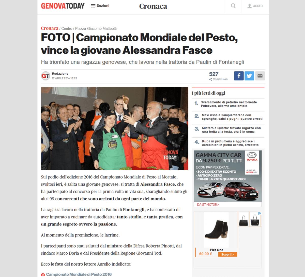 Genova Today 17 Aprile - 16 Aprile 2016